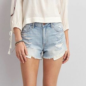 American Eagle Jean Shorts Destroyed High Waist -